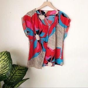 Anthropologie | Silk Floral Blouse